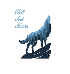 wolf and nature designs vector image