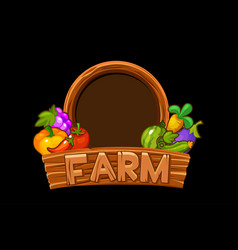 wooden logo farm with vegetables and berries vector image