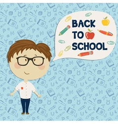 Young boy in glasses holding say back to school vector