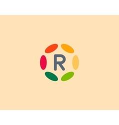 Color letter R logo icon design Hub frame vector image vector image