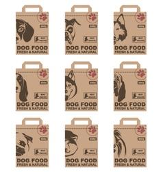 Dog food packages set vector