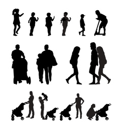 Mother with Pram and Children Silhouette vector image