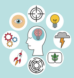 profile human head brain creativity innovation vector image vector image