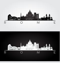 rome skyline and landmarks silhouette vector image