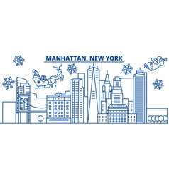 usa new york manhattan winter city skyline vector image