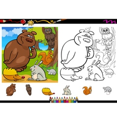 wild animals coloring page set vector image vector image