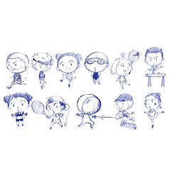 Blue doodle design of people playing with the vector image vector image