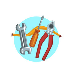 construction repair tools icon pliers vector image