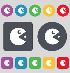 pac man icon sign A set of 12 colored buttons Flat vector image