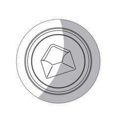 sticker monochrome silhouette circular button with vector image vector image