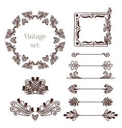 Vintage frames and border elements decoration vector