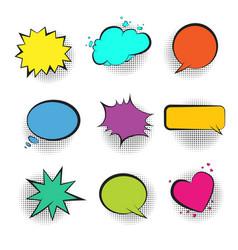 big set of color retro comic speech bubbles vector image