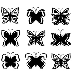 collection black and white butterflies isolat vector image