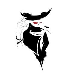 Modern girl sketch white background hat vector image vector image