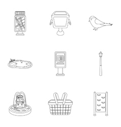 Park set icons in outline style Big collection of vector image vector image