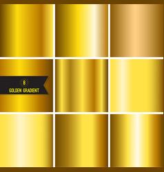 set of gold foil texture vector image
