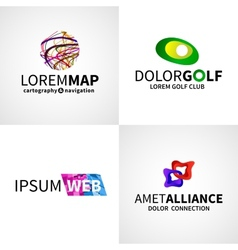 Set of modern colorful abstract web alliance golf vector image