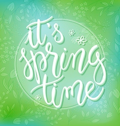 spring time greetings hand lettering badge with vector image