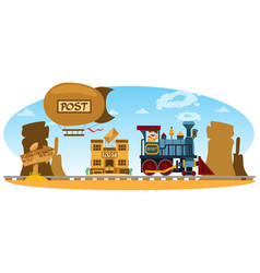 wild west post office vintage train mountain vector image