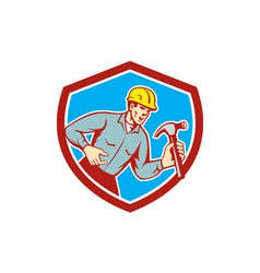 Builder Carpenter Shouting Hammer Shield Retro vector image