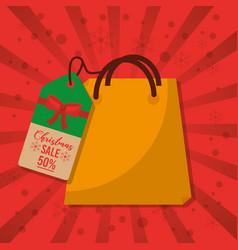 christmas sale bag gift price tag marketing red vector image