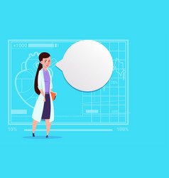female doctor with chat bubble medical clinics vector image vector image