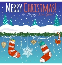 Greeting card with Christmas decoration gifts vector image