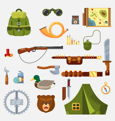 hunting animal wild life leisure tackle and vector image