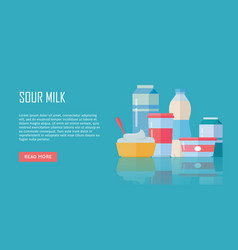traditional dairy products from sour milk vector image vector image