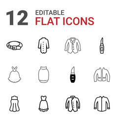 12 accessories icons vector