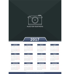2017 wall calendar vector