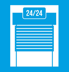 24 hours parking icon white vector