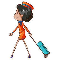 A coloured drawing of an air hostess vector