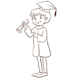 A plain drawing of a boy graduating vector image