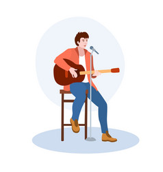 A singer sitting on high chair with guitar vector