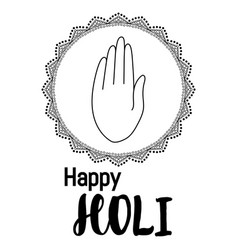 abstract colorful happy holi background with hand vector image