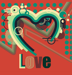 abstract heart with colorful lines and stripes vector image