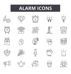 alarm line icons for web and mobile editable vector image