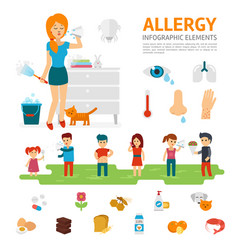 allergy infographic elements flat design vector image