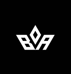 Ba monogram logo with crown shape luxury style vector