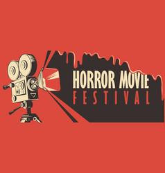 Banner for horror movie festival scary cinema vector