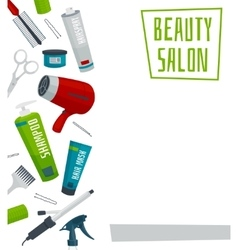 Beauty salon poster template hair care tools vector