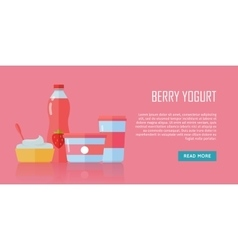 Berry Yogurt Dairy Products from Milk vector