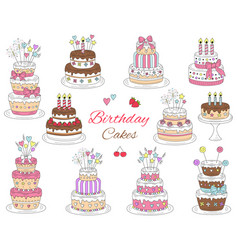 Birthday cakes set hand drawn colorful vector