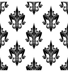 Black and white seamless fleur-de-lis pattern vector image