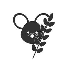 Black icon on white background koala and plant vector