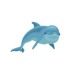 blue dolphin swimming on a vector image