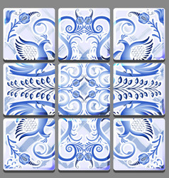 Blue mural on ceramic tile with a national vector