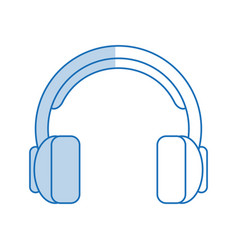 blue shading silhouette cartoon headphones with vector image