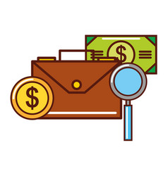 business money coin banknote briefcase magnifying vector image